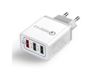 Zasilacz USB 5V 4.8A z gniazdem QC3 18W białoszary