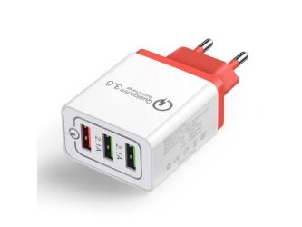 Zasilacz/ładowarka USB QC3 +2x 5V 2.1A czerwony wtyk