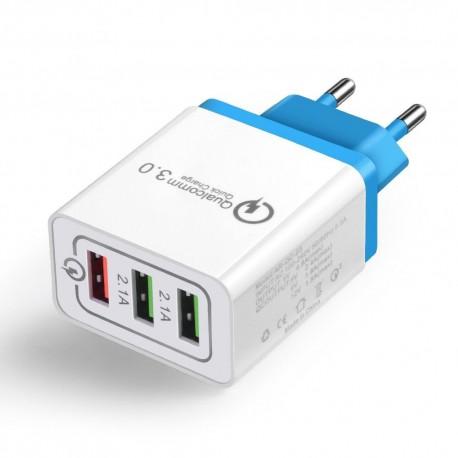 Ładowarka 3-portowa QuickCharge3 USB niebieski wtyk