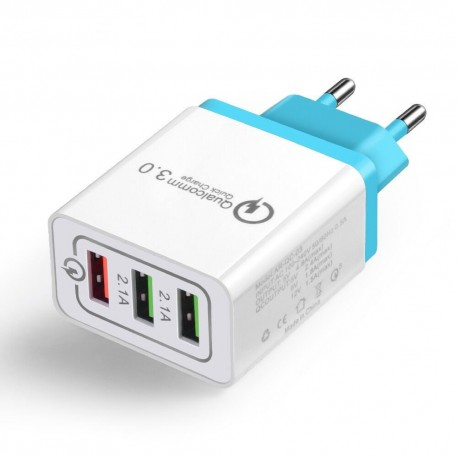 Zasilacz/ładowarka USB QC3 +2x 5V 2.1A błękitny wtyk