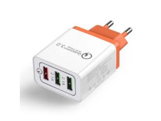 Zasilacz/ładowarka USB QC3 +2x 5V 2.1A pomarańcz wtyk