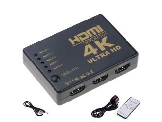 Switch HDMI 4K 5-wejściowy ze wzmacniaczem +pilot