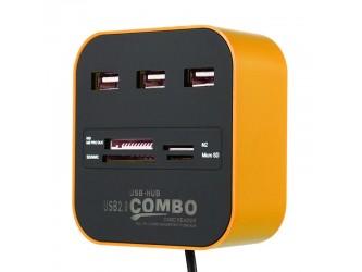 HUB 3x USB + czytnik kart SD TF microSD MS M2