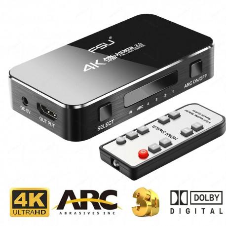 Switch HDMI 4K HDMI2.0 4-wejściowy z ARC DAC +pilot